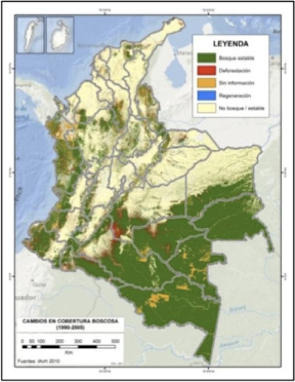Deforestation rates map (1990-2005). Source: Instituto Humboldt 2011