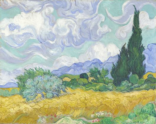 Wheatfield with cypresses by Vincent Van Gogh 1889, said to be worth $91.5 million. Credit: Wikipedia Commons