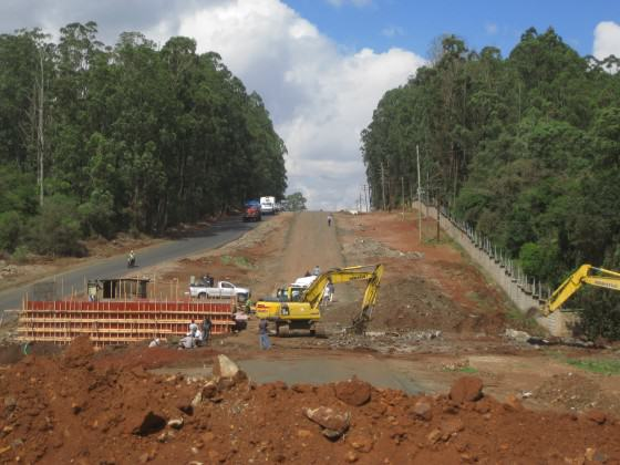 Expansion of Langata Road - NNP on the left, March 2012. Photo: Glen Hyman