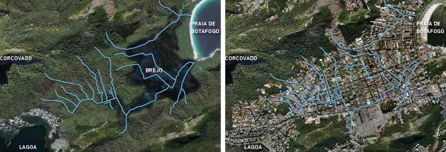 Humaitá, antes e depois da ocupação humana. Crédito: P. Martin, baseado no Atlas da evolução urbana da cidade do Rio de Janeiro, Eduardo Canabrava Barreiros