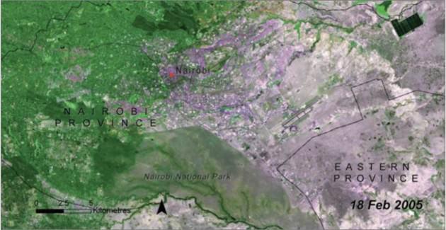 "NNP Landsat, 2005. Credit: UNEP, 2009, ""Kenya: Atlas of Our Changing Environment."" pp. 146-147."