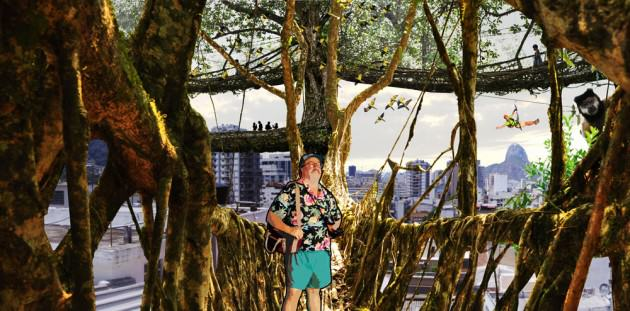Rendering of people walking through suspended pathways, vegetated island looking at monkeys and maitacas. Credit: P. Martin
