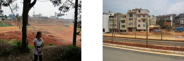 Kunming, China. Ground Truthing. Top: New highway gradient. Mid: Village life under the unopened highway. Low: Red earth. Credit: Victoria Marshall