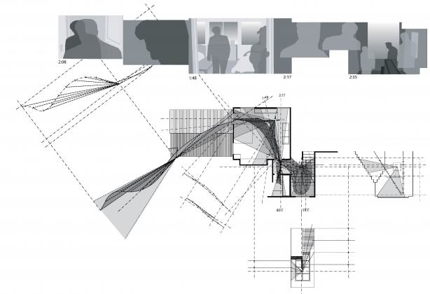 Mapping of the hand-held camera in the final sequence of John Cassavetes' Faces: coming home after a late night out. Cassavetes camera is hand held, so this diagram measures the distance between the camera and the head of the actor. Both are continuously moving at high speed throughout the scene as actor and camera run into the house, up the stair and out the second floor window.