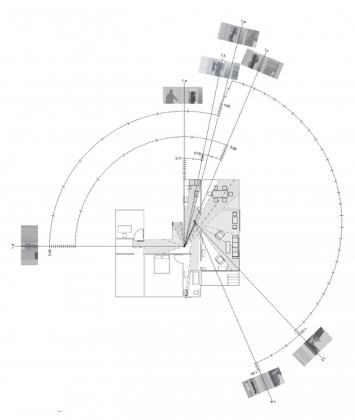 Mapping of the panning camera in middle sequence of Jean-Luc Godard's Contempt: coming home, bathing, getting change and going out. While Ozu's camera shifts around the perimeter of the scene in three stationary positions, Godard's camera is located in the center of the apartment and continuously pans as the actors move around from room to room. The diagram repeats the same grey tone depicting in plan what is captured within the film frame, but also adds a time line where each line indicates one second around the arcs generated by the panning camera.