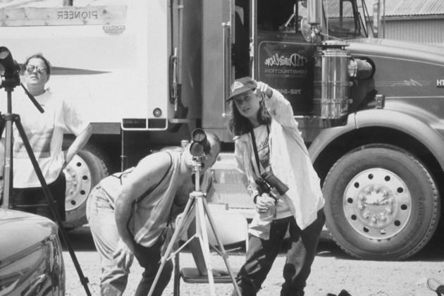 Truckers watching peregrines beneath the Fremont Bridge. Photo: Bob Sallinger