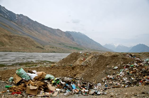 Garbage dump outside Kaza. Photo: Madhusudan Katti