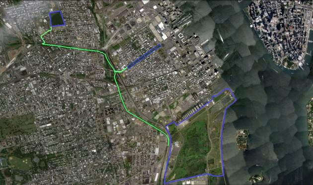 Three parks (blue) forest trail (green). Image: Veronica Foley