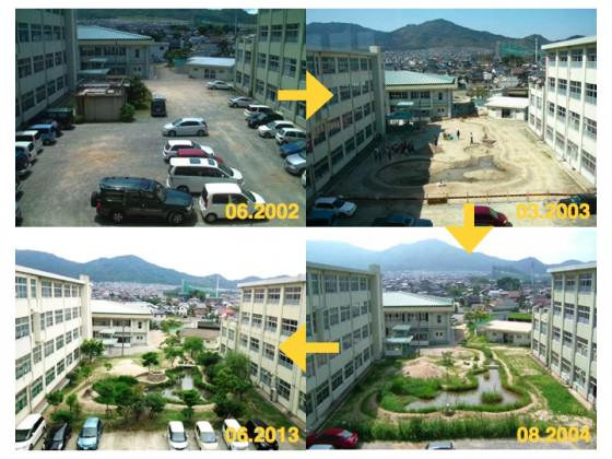 Changes of the schoolyard over 10 years, from 2003-2010, in Japan. Photo: K.Ito