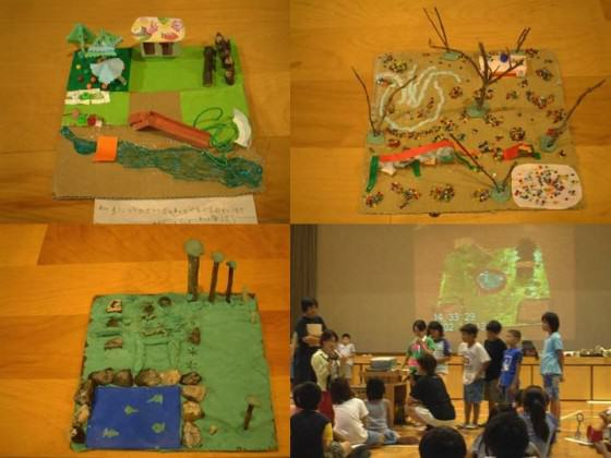 Children's ideal image of the space and they make presentation in planning workshop (1/100), 2002. Photo: K.Ito.