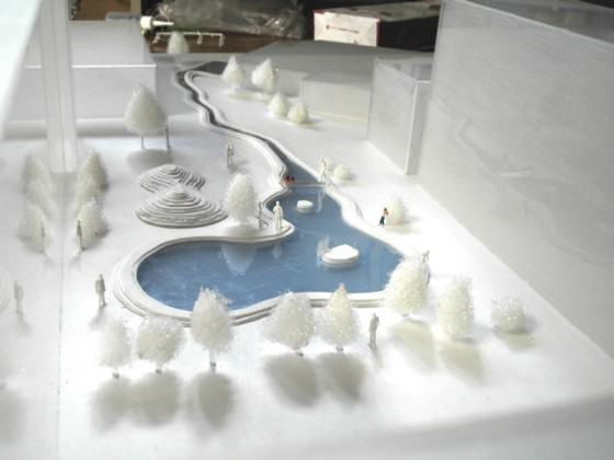 The model(1/100) of the school biotope by Keitaro ITO Lab, 2003. Photo: K. ITO