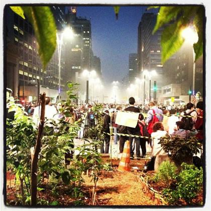 São Paulo during a protest at Avenida Paulista, the center economic and financial district of the city seen from inside the Bikers Vegetable Garden (Horta do Ciclista)  done by Hortelões Urbanos – a group of citizens concerned with healthy food and direct contact with nature. Photo: Fernanda Danelon
