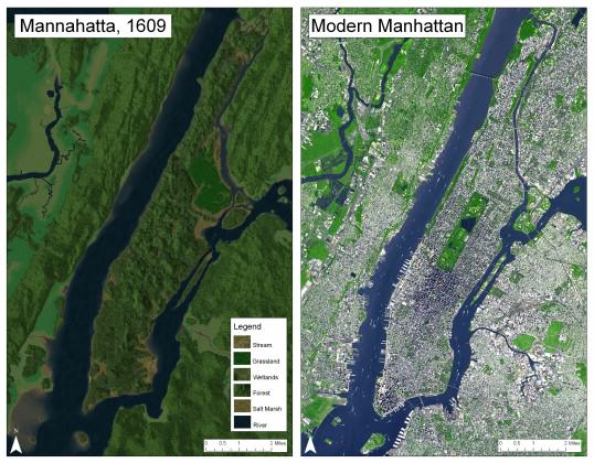 The Manhatta Project: Manhattan as it probably was in 1609 (left) and modern Manhattan. Images: © Paul Berg, Wildlife Conservation Society (Eric Sanderson)