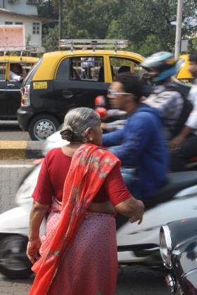 Crossing traffic in downtown Mumbai. Photo: David Maddox