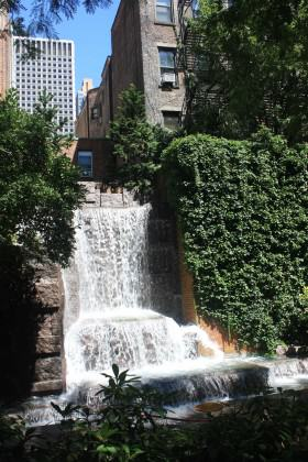 Greenacre Park in Midtown Manhattan (51st St), with a waterfall and a green wall. Photo: David Maddox