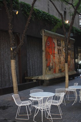 A small park in Midtown Manhattan (53rd St), with a waterfall, and a piece f the Berlin Wall. Photo: David Maddox