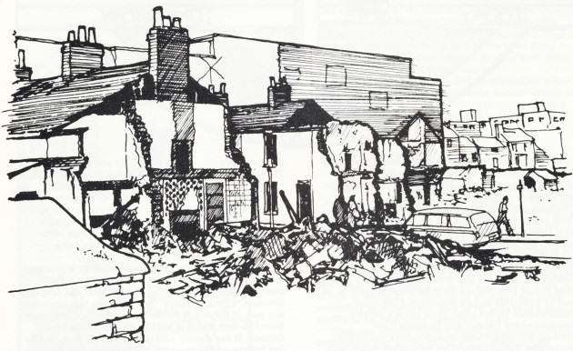 Urban 'renewal' Swansea, South Wales 1977 Drawing: Paul Downton