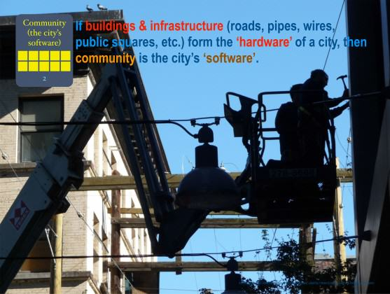 A city is nothing without its people and it is the people who decide the nature of the city. (From a slide set prepared for Urban Ecology Australia Inc) Credit: photo and graphic: Paul Downton