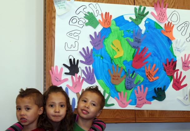 Children and their parents participating in Earth Day activities at Fort Drum, NY.