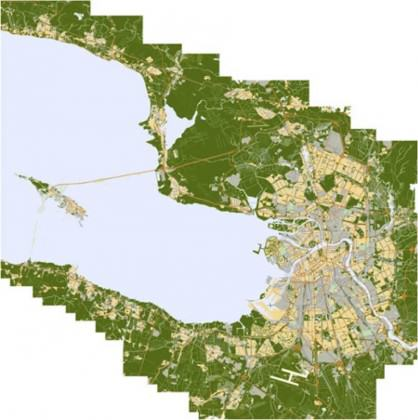 Plan of St. Petersburg with Gulf of Finland and Forest Greenbelt