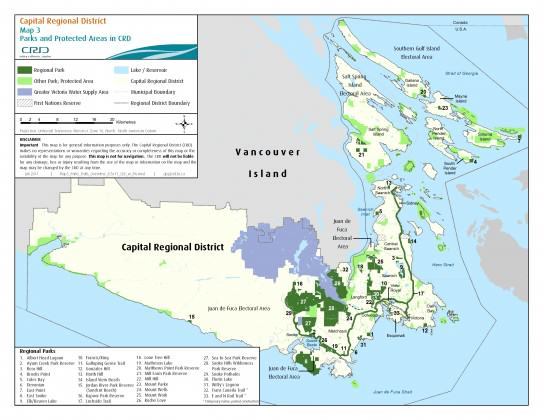 Map 3. Parks and Protected Areas in the CRD.