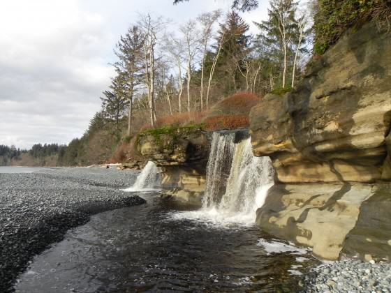 Waterfall at Sandcut Beach in the newly acquired Jordan River Regional Park. Photo: CRD Library.