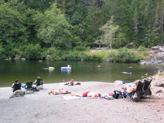 Visitors enjoying a summer afternoon at Sooke Potholes Regional Park.  Photo: CRD Image Library.