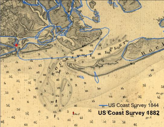 The Rockaway Inlet between Queens and Brooklyn in 1861, based on a U.S. Coast Survey chart.  The blue line is the shoreline from seventeen years before.  Chart courtesy of the NOAA Historical Map & Chart Collection.