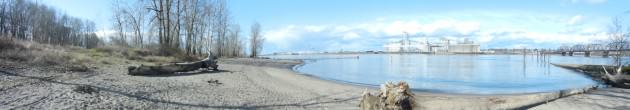 West Hayden Island Beaches with Port of Vancouver looming in the background. Photo: Bob Sallinger