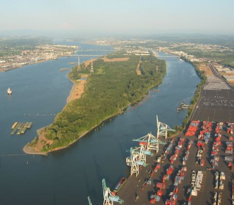 West Hayden Island with the Port of Portland Marine Terminals to the Right. Photo: Jim Labbe