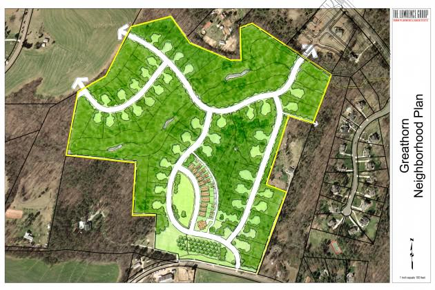 Master site plan for The Woodlands at Davidson, North Carolina, which contains a wildlife corridor down the middle. Courtesy of the Lawrence Group.