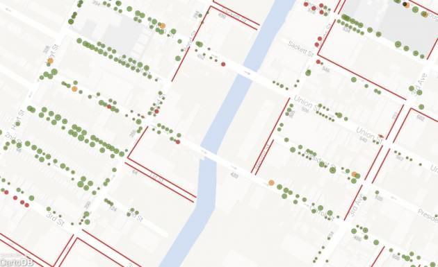 Trees mapped by volunteers at the Gowanus Canal Conservancy in Brooklyn, working with TreeKIT. Source: TreeKIT