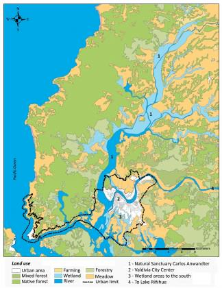Location of Valdivia and wetland areas created after the 1960 earthquake