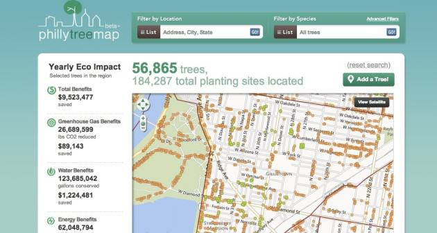 Looking at street trees in Philadelphia's version of Open Tree Map. Source: Philly Tree Map