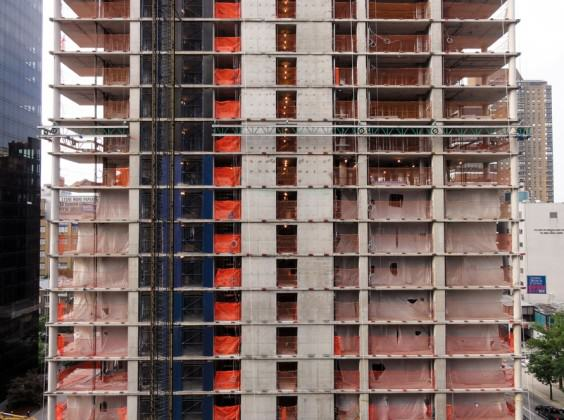 Reinforced concrete walls of a high-rise building under construction in Manhattan. Photo: Graham Coreil-Allen