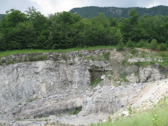 Edge of existing wollastonite ore mine, beyond which NYCO minerals will now expand. Photo by Mary Esch