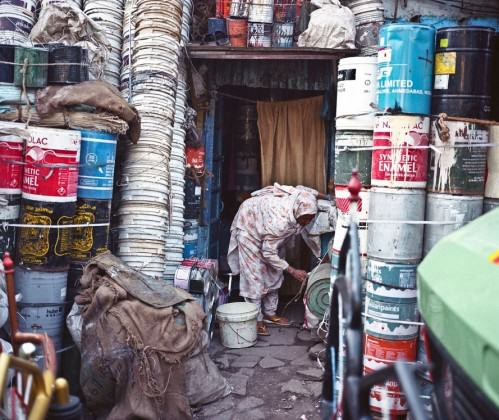 Waste consolidated for recycling in Dharavi, Mumbai. Photo: lecercle