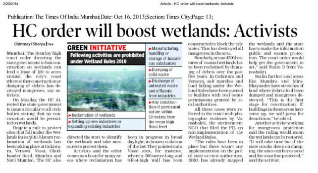 Article - HC order will boost wetlands_ Activists