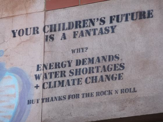 An example of stencilled graffiti that DOES tell the truth! On the wall of the Central Market in Adelaide. Photo: Paul Downton