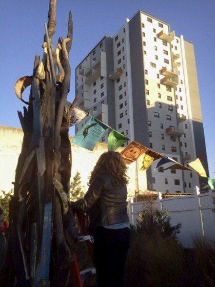 Sea-Song Memorial Sculpture at Hip Hop Community Garden (hyperlink: http://sandysculpture.weebly.com/) Photo: Joana Chan