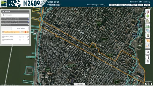 Fourteenth Street is a major thoroughfare, business and residential district on Manhattan in New York City.  The orange line indicates the extent of the vision.  It is defined with the vision extent tool, which is the top tool of the second set of tools on the right side of the interface.