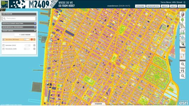 Manhattan today is also composed of ecosystems, albeit ones constructed by people.  Reds and pinks indicate different building types; yellows and oranges, different transportation types; and blue, estuary waters.  The ecosystem painting tools are the top set of six boxes on the right side of the interface.  The second tool in the second set provides a grid inspector, which allows users to select any cell and interrogate its identity in the vision, 2010 and 1609.
