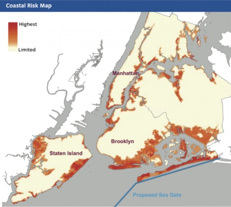 """Sea gate proposed in the report, """"A Stronger, More Resilient New York"""" from the NYC Special Initiative for Rebuilding and Resiliency"""