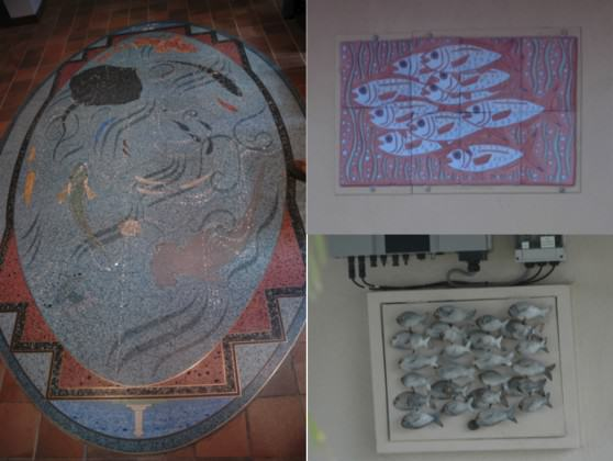 In the port city of Fremantle, in Western Australia, images of the marine world are found everywhere, even on the floor of the lobby of city hall (left image). Photos: Tim Beatley)