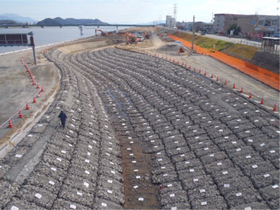 Recycled concrete pieces for underground structure. 2011. Photo: Takayuki Fukaura