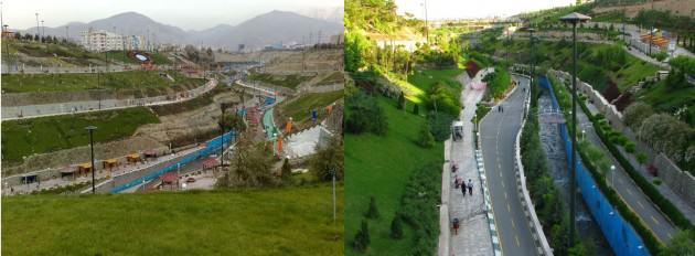 Farahzad river valley after rehabilitation. Source: www.negahmedia.ir