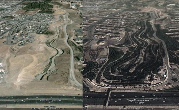 Farahzad river valley before (2004) and after (2014) rehabilitation. Source: Google Earth