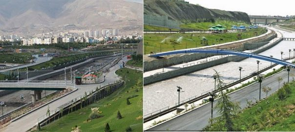 Kan river valley after rehabilitation. The urban river has been transformed to a big urban gutter!                 Source: hamshahrionline.ir