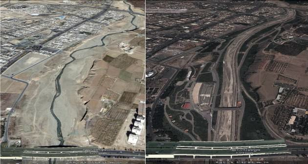 Kan river valley before (2008)(LEFT) and after (2014)(RIGHT) rehabilitation. Source: Google Earth.