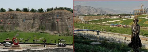 Left: The dominance of ornamental and recreational elements along with poor vegetation. Right: Construction within the boundary of river valley threats the buffer zone and river scenery! Source: tafrih.ir